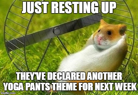 JUST RESTING UP THEY'VE DECLARED ANOTHER YOGA PANTS THEME FOR NEXT WEEK | made w/ Imgflip meme maker