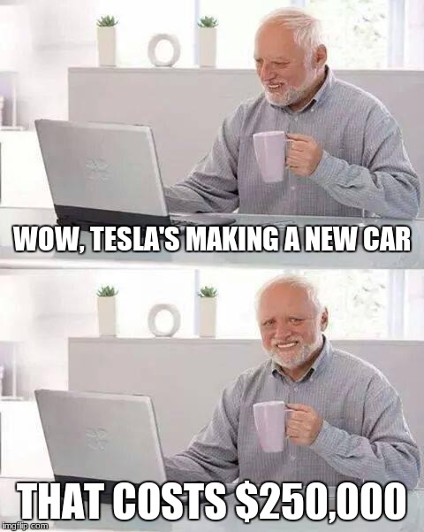 Hide the Pain Harold Meme | WOW, TESLA'S MAKING A NEW CAR THAT COSTS $250,000 | image tagged in memes,hide the pain harold | made w/ Imgflip meme maker