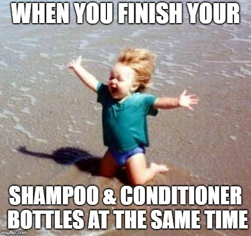 Celebration | WHEN YOU FINISH YOUR SHAMPOO & CONDITIONER BOTTLES AT THE SAME TIME | image tagged in celebration,hair,shampoo | made w/ Imgflip meme maker