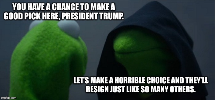 Evil Kermit Meme | YOU HAVE A CHANCE TO MAKE A GOOD PICK HERE, PRESIDENT TRUMP. LET'S MAKE A HORRIBLE CHOICE AND THEY'LL RESIGN JUST LIKE SO MANY OTHERS. | image tagged in memes,evil kermit | made w/ Imgflip meme maker