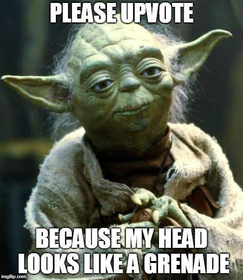 Star Wars Yoda Meme | PLEASE UPVOTE BECAUSE MY HEAD LOOKS LIKE A GRENADE | image tagged in memes,star wars yoda | made w/ Imgflip meme maker