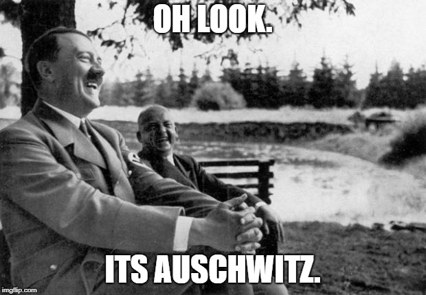 Offense meme quest 2018! | OH LOOK. ITS AUSCHWITZ. | image tagged in adolf hitler laughing | made w/ Imgflip meme maker