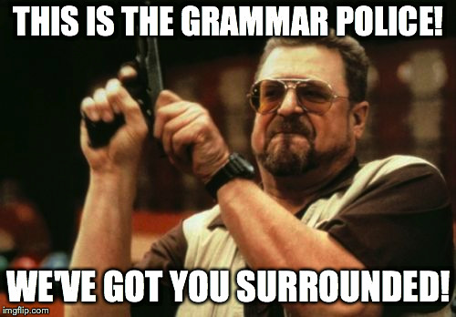 Am I The Only One Around Here Meme | THIS IS THE GRAMMAR POLICE! WE'VE GOT YOU SURROUNDED! | image tagged in memes,am i the only one around here | made w/ Imgflip meme maker