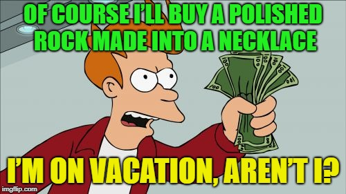 Oh the things we spend money on... | OF COURSE I'LL BUY A POLISHED ROCK MADE INTO A NECKLACE I'M ON VACATION, AREN'T I? | image tagged in memes,shut up and take my money fry,funny,vacation | made w/ Imgflip meme maker