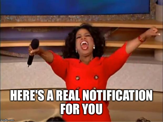 Oprah You Get A Meme | HERE'S A REAL NOTIFICATION FOR YOU | image tagged in memes,oprah you get a | made w/ Imgflip meme maker