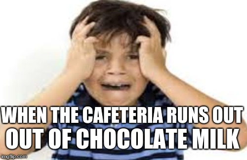 WHEN THE CAFETERIA RUNS OUT OUT OF CHOCOLATE MILK | image tagged in depression | made w/ Imgflip meme maker