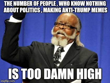 If it's just about hate I don't want to hear it anymore | THE NUMBER OF PEOPLE , WHO KNOW NOTHING ABOUT POLITICS , MAKING ANTI-TRUMP MEMES IS TOO DAMN HIGH | image tagged in memes,too damn high,trump,haters,x x everywhere | made w/ Imgflip meme maker