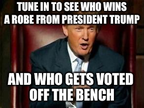 Donald Trump | TUNE IN TO SEE WHO WINS A ROBE FROM PRESIDENT TRUMP AND WHO GETS VOTED OFF THE BENCH | image tagged in donald trump | made w/ Imgflip meme maker