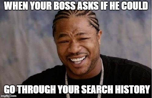 Yo Dawg Heard You Meme | WHEN YOUR BOSS ASKS IF HE COULD GO THROUGH YOUR SEARCH HISTORY | image tagged in memes,yo dawg heard you | made w/ Imgflip meme maker