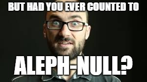 Hey VSauce Michael Here | BUT HAD YOU EVER COUNTED TO ALEPH-NULL? | image tagged in hey vsauce michael here | made w/ Imgflip meme maker