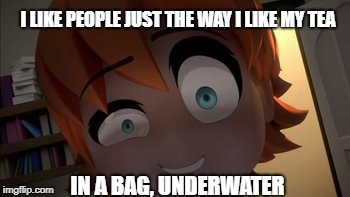 I LIKE PEOPLE JUST THE WAY I LIKE MY TEA IN A BAG, UNDERWATER | image tagged in dark humor,rwby chibi,rwby | made w/ Imgflip meme maker