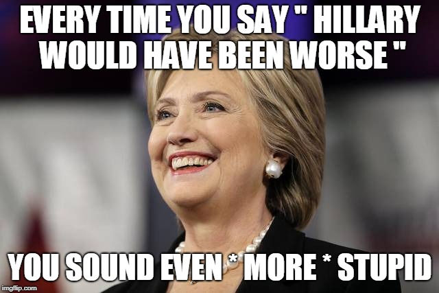 "EVERY TIME YOU SAY "" HILLARY WOULD HAVE BEEN WORSE "" YOU SOUND EVEN * MORE * STUPID 