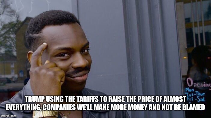 Roll Safe Think About It Meme | TRUMP USING THE TARIFFS TO RAISE THE PRICE OF ALMOST EVERYTHING, COMPANIES WE'LL MAKE MORE MONEY AND NOT BE BLAMED | image tagged in memes,roll safe think about it | made w/ Imgflip meme maker