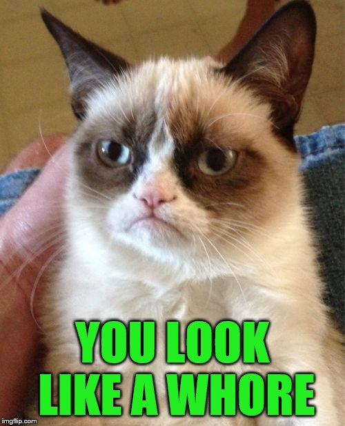 Grumpy Cat Meme | YOU LOOK LIKE A W**RE | image tagged in memes,grumpy cat | made w/ Imgflip meme maker