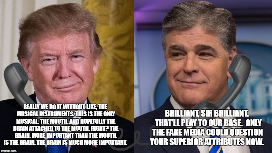 Hannity and Trump | REALLY WE DO IT WITHOUT LIKE, THE MUSICAL INSTRUMENTS. THIS IS THE ONLY MUSICAL: THE MOUTH. AND HOPEFULLY THE BRAIN ATTACHED TO THE MOUTH. R | image tagged in sean hannity,donald trump | made w/ Imgflip meme maker