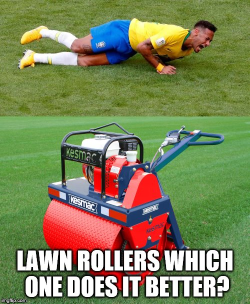 lawn roller | LAWN ROLLERS WHICH ONE DOES IT BETTER? | image tagged in neymar | made w/ Imgflip meme maker