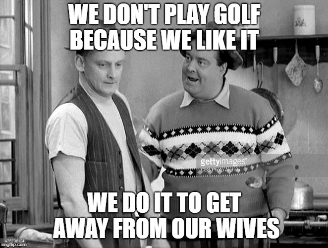 WE DON'T PLAY GOLF BECAUSE WE LIKE IT WE DO IT TO GET AWAY FROM OUR WIVES | image tagged in golf | made w/ Imgflip meme maker