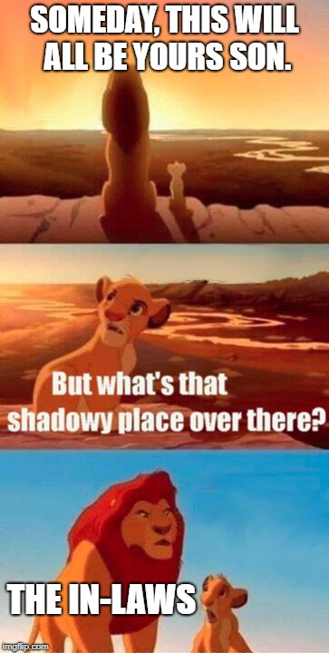 Simba Shadowy Place Meme | SOMEDAY, THIS WILL ALL BE YOURS SON. THE IN-LAWS | image tagged in memes,simba shadowy place | made w/ Imgflip meme maker