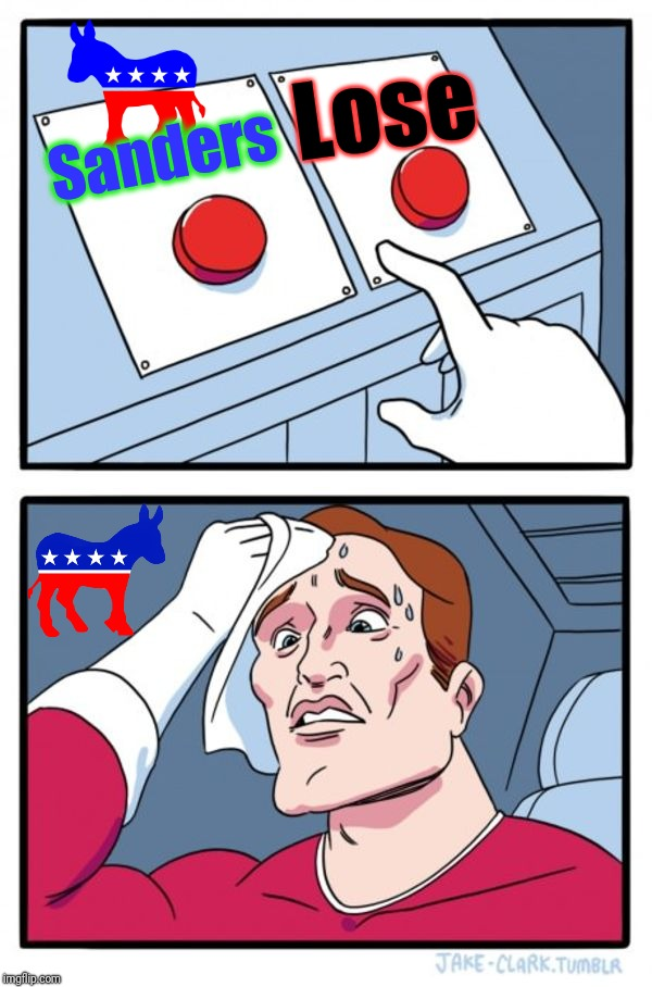 Two Buttons Meme | Sanders Lose | image tagged in memes,two buttons | made w/ Imgflip meme maker