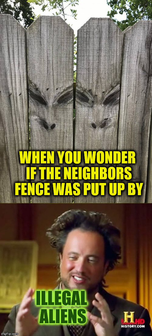 I think that they've got their eyes on us | WHEN YOU WONDER IF THE NEIGHBORS FENCE WAS PUT UP BY ILLEGAL ALIENS | image tagged in fence,aliens | made w/ Imgflip meme maker