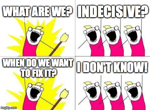 Am I The Only One That Deals With This Problem? | WHAT ARE WE? INDECISIVE? WHEN DO WE WANT TO FIX IT? I DON'T KNOW! | image tagged in memes,what do we want | made w/ Imgflip meme maker