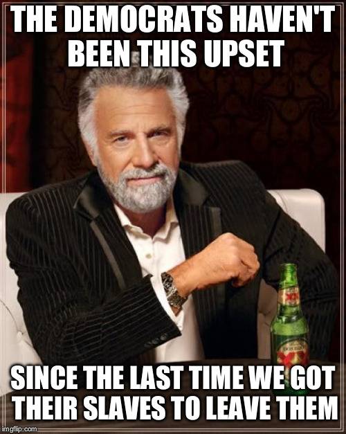 The Most Interesting Man In The World Meme | THE DEMOCRATS HAVEN'T BEEN THIS UPSET SINCE THE LAST TIME WE GOT THEIR SLAVES TO LEAVE THEM | image tagged in memes,the most interesting man in the world | made w/ Imgflip meme maker