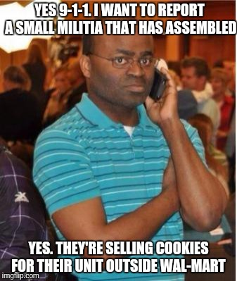 EFF You and Your Pecan Sandies |  YES 9-1-1. I WANT TO REPORT A SMALL MILITIA THAT HAS ASSEMBLED; YES. THEY'RE SELLING COOKIES FOR THEIR UNIT OUTSIDE WAL-MART | image tagged in angry man on phone | made w/ Imgflip meme maker