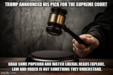 Supreme court | TRUMP ANNOUNCED HIS PICK FOR THE SUPREME COURT GRAB SOME POPCORN AND WATCH LIBERAL HEADS EXPLODE, LAW AND ORDER IS NOT SOMETHING THEY UNDERS | image tagged in supreme court | made w/ Imgflip meme maker