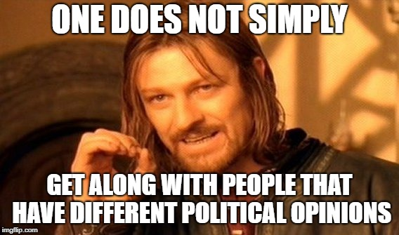 One Does Not Simply Meme | ONE DOES NOT SIMPLY GET ALONG WITH PEOPLE THAT HAVE DIFFERENT POLITICAL OPINIONS | image tagged in memes,one does not simply,political meme | made w/ Imgflip meme maker