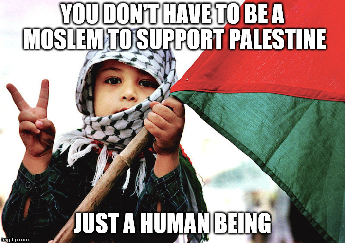 YOU DON'T HAVE TO BE A MOSLEM TO SUPPORT PALESTINE JUST A HUMAN BEING | image tagged in freedom | made w/ Imgflip meme maker