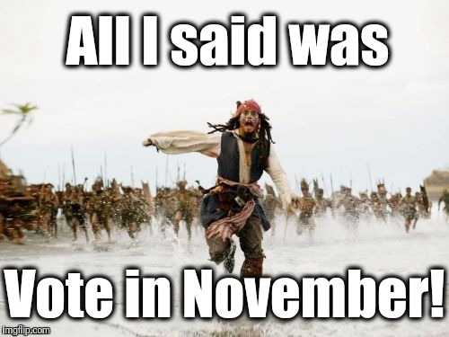 Want change? Be the change! | All I said was Vote in November! | image tagged in pirates of the caribbean | made w/ Imgflip meme maker