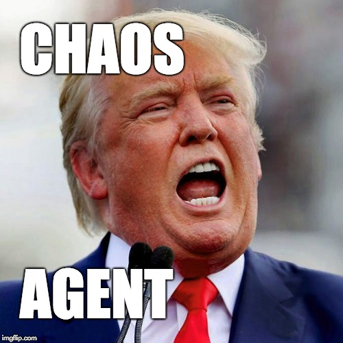 Donald Trump: chaos agent. | CHAOS AGENT | image tagged in trump,donald trump,chaos,fraud,conman | made w/ Imgflip meme maker
