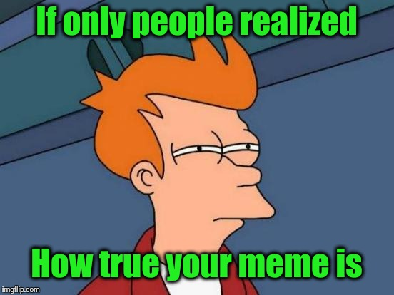 Futurama Fry Meme | If only people realized How true your meme is | image tagged in memes,futurama fry | made w/ Imgflip meme maker