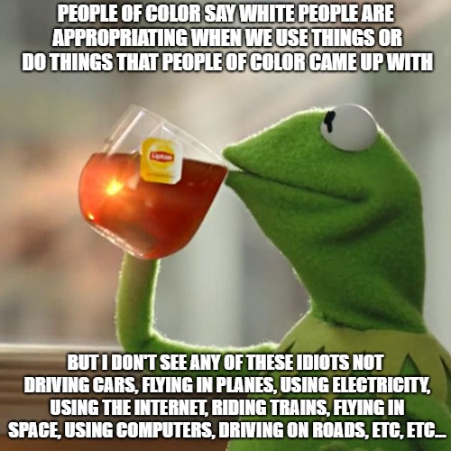 If you want to play this game, let's do it. | PEOPLE OF COLOR SAY WHITE PEOPLE ARE APPROPRIATING WHEN WE USE THINGS OR DO THINGS THAT PEOPLE OF COLOR CAME UP WITH BUT I DON'T SEE ANY OF  | image tagged in memes,but thats none of my business,kermit the frog,cultural appropriation | made w/ Imgflip meme maker