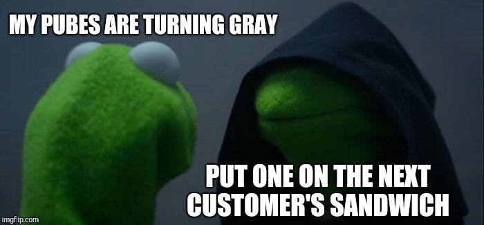 Evil Kermit Meme | MY PUBES ARE TURNING GRAY PUT ONE ON THE NEXT CUSTOMER'S SANDWICH | image tagged in memes,evil kermit | made w/ Imgflip meme maker