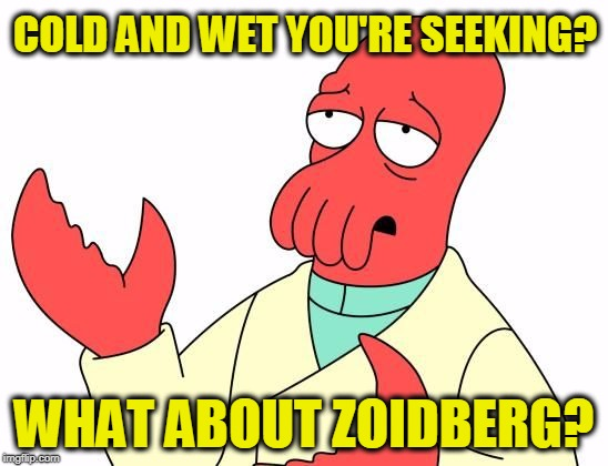 COLD AND WET YOU'RE SEEKING? WHAT ABOUT ZOIDBERG? | image tagged in zoid | made w/ Imgflip meme maker