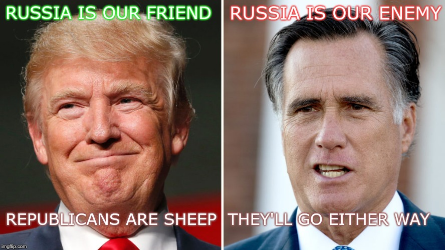 Sheep | RUSSIA IS OUR FRIEND REPUBLICANS ARE SHEEP  THEY'LL GO EITHER WAY RUSSIA IS OUR ENEMY | image tagged in trump,romney,sheep,putin | made w/ Imgflip meme maker