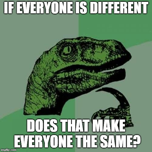 Philosoraptor Meme | IF EVERYONE IS DIFFERENT DOES THAT MAKE EVERYONE THE SAME? | image tagged in memes,philosoraptor | made w/ Imgflip meme maker