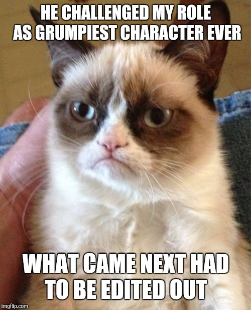 Grumpy Cat Meme | HE CHALLENGED MY ROLE AS GRUMPIEST CHARACTER EVER WHAT CAME NEXT HAD TO BE EDITED OUT | image tagged in memes,grumpy cat | made w/ Imgflip meme maker