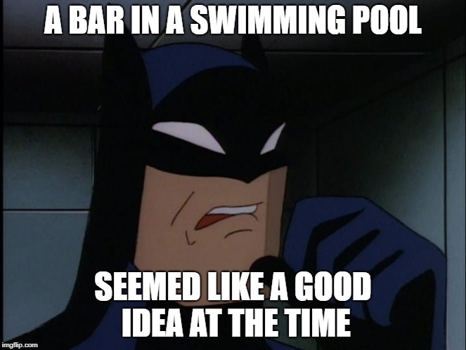 Batman Cringe | A BAR IN A SWIMMING POOL SEEMED LIKE A GOOD IDEA AT THE TIME | image tagged in batman cringe | made w/ Imgflip meme maker