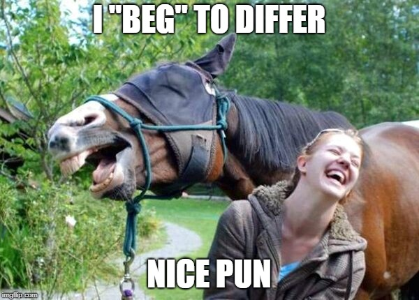 "I ""BEG"" TO DIFFER NICE PUN 