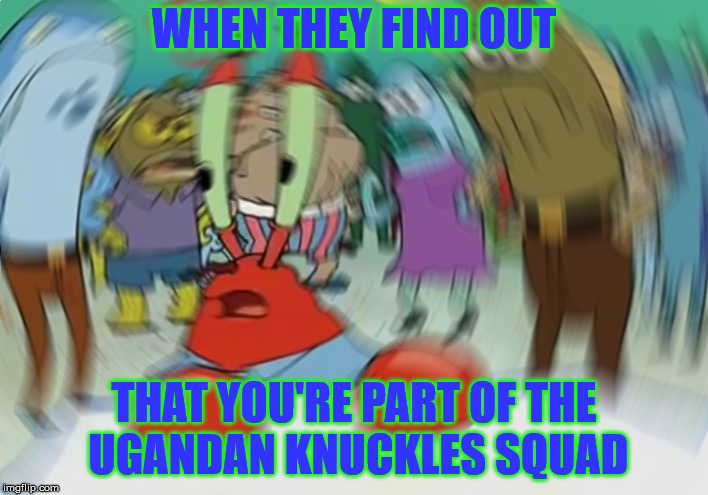 Mr Krabs Blur Meme | WHEN THEY FIND OUT THAT YOU'RE PART OF THE UGANDAN KNUCKLES SQUAD | image tagged in memes,mr krabs blur meme | made w/ Imgflip meme maker