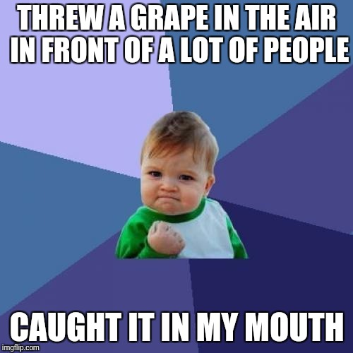Yes | THREW A GRAPE IN THE AIR IN FRONT OF A LOT OF PEOPLE CAUGHT IT IN MY MOUTH | image tagged in memes,success kid | made w/ Imgflip meme maker