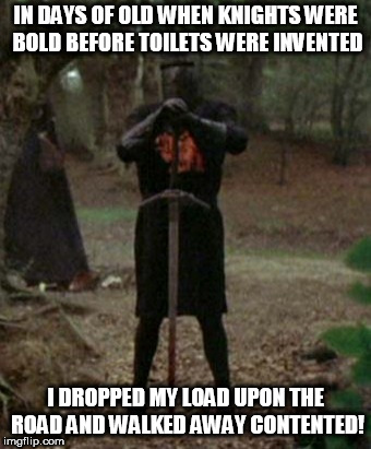 monty python black knight  | IN DAYS OF OLD WHEN KNIGHTS WERE BOLD BEFORE TOILETS WERE INVENTED I DROPPED MY LOAD UPON THE ROAD AND WALKED AWAY CONTENTED! | image tagged in monty python black knight | made w/ Imgflip meme maker