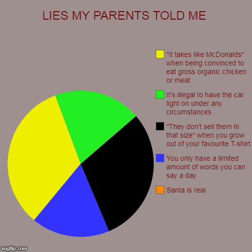 "Tell me lies tell me sweet little lies | LIES MY PARENTS TOLD ME | Santa is real, You only have a limited amount of words you can say a day, ""They don't sell them in that size"" when 