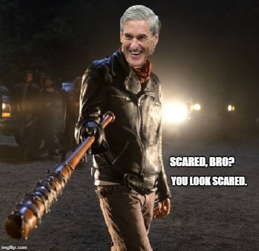 scared? | SCARED, BRO? YOU LOOK SCARED. | image tagged in mueller,trump,trumprussia | made w/ Imgflip meme maker