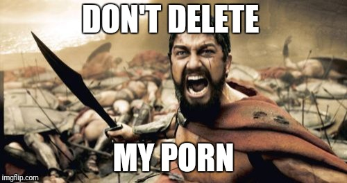 Sparta Leonidas Meme | DON'T DELETE MY PORN | image tagged in memes,sparta leonidas | made w/ Imgflip meme maker