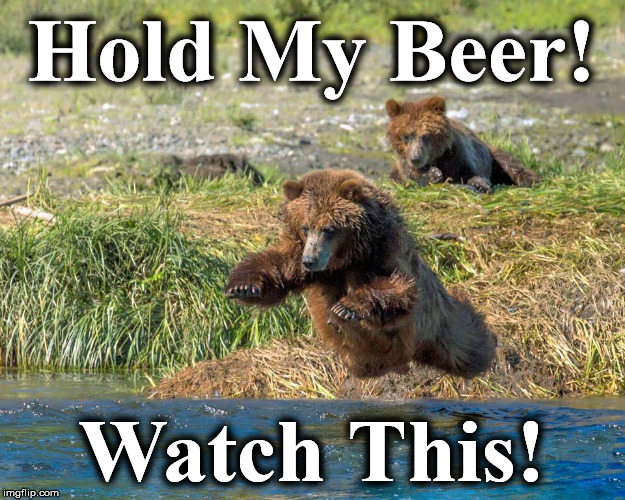Hold My Beer! Watch This! | image tagged in bear11 | made w/ Imgflip meme maker