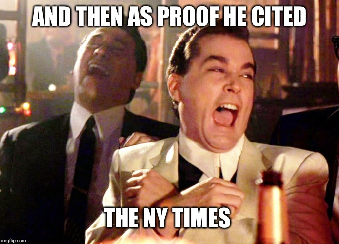 Good Fellas Hilarious Meme | AND THEN AS PROOF HE CITED THE NY TIMES | image tagged in memes,good fellas hilarious | made w/ Imgflip meme maker
