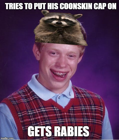 Bad Luck Brian Meme | TRIES TO PUT HIS COONSKIN CAP ON GETS RABIES | image tagged in memes,bad luck brian | made w/ Imgflip meme maker